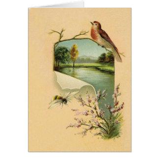 Cartes de note vintages d'oiseau et d'abeille