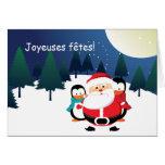 Cartes de Père Noël et de Manchot le père noël