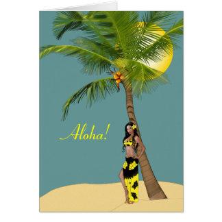 Cartes de pin-up d'arbre de noix de coco de Wahine