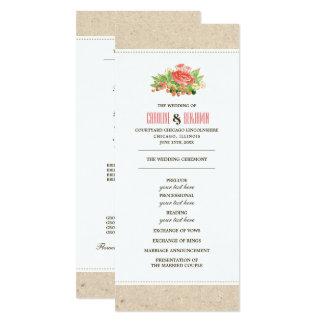 Cartes de programme florales de mariage