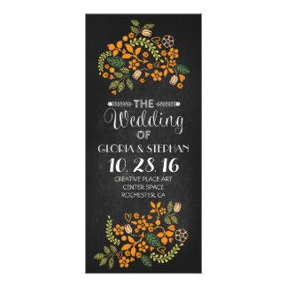 cartes de programme florales de mariage de tableau
