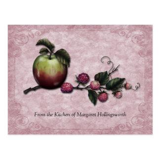 Cartes de recette de pommes et de framboises