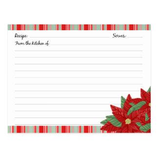 Cartes de recette de vacances de Noël