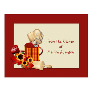Cartes de recette d'ustensiles de cuisine de boîte carte postale