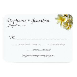Cartes- de réponse blanches de mariage de Plumeria Carton D'invitation 8,89 Cm X 12,70 Cm