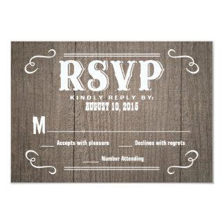 Cartes- de réponse en bois occidentales de mariage invitation personnalisable