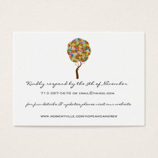 Cartes de réponse et de site Web d'arbre d'amour