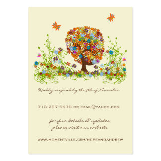 Cartes de réponse et de site Web d'arbre d'amour Carte De Visite Grand Format