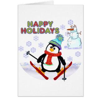Cartes de skieur de pingouin
