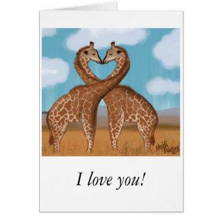 Cartes de Valentines d'amour de girafes