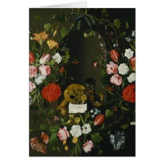 Cartes De Vanitas toujours la vie avec des fleurs