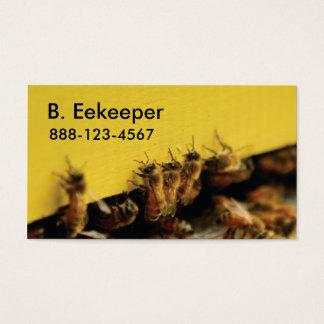 Cartes De Visite abeilles sur la ruche jaune