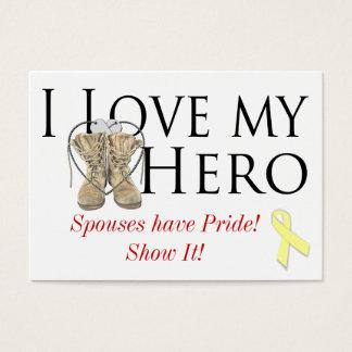 Cartes De Visite aimez mon héros, ruban jaune de chaussure,