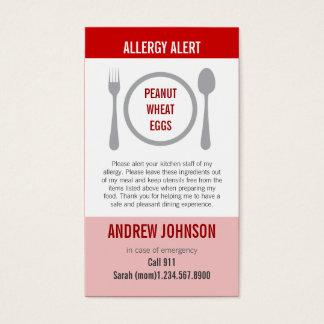 Cartes De Visite Allergie Duotones rouge vigilant