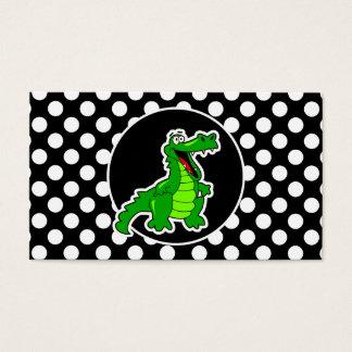 Cartes De Visite Alligator sur le pois noir et blanc