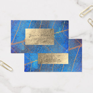 Cartes De Visite Aluminium de sépia de saphir d'or de bleu de