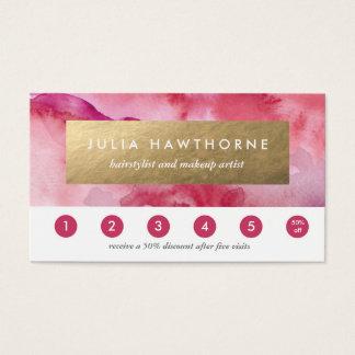 Cartes De Visite Aluminium rose de Faux d'aquarelle et d'or
