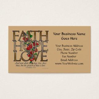 Cartes De Visite Amour d'espoir de foi, conception florale avec le