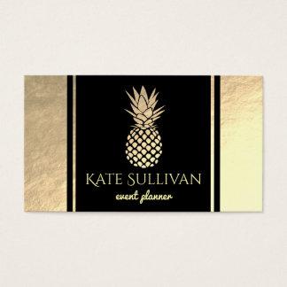 Cartes De Visite ananas d'or de faux sur le noir