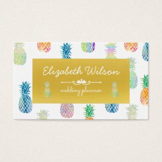 Cartes De Visite ananas tropicaux colorés d'été