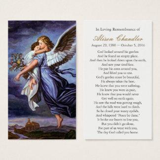 Cartes De Visite Ange du seigneur Funeral Sympathy Prayer Card