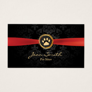 Cartes De Visite Animal familier reposant la damassé rouge élégante
