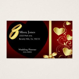 Cartes De Visite Anneaux d'or de coeurs de mariage réglés