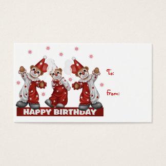 Cartes De Visite Anniversaire d'étiquette de cadeau de clown joyeux
