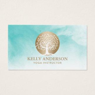 Cartes De Visite Aquarelle d'arbre d'or d'entraîneur de la vie