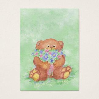 Cartes De Visite Aquarelle de fleur de bouquet d'ours de nounours
