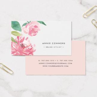 Cartes De Visite Aquarelle de floraison de la pivoine | florale