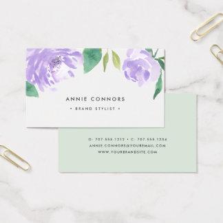 Cartes De Visite Aquarelle de la pivoine | d'améthyste florale