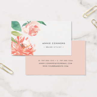 Cartes De Visite Aquarelle de rougissement de la pivoine | florale