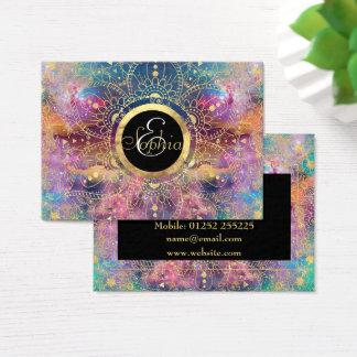 Cartes De Visite Aquarelle d'or et mandala de nébuleuse