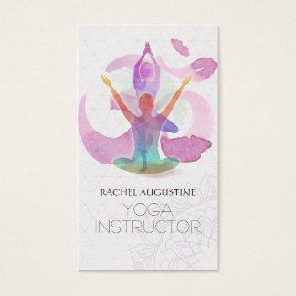 Cartes De Visite Aquarelle élégante de symbole de l'OM de pose de