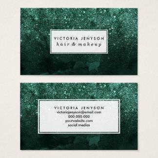 Cartes De Visite Aquarelle verte chic de forêt d'ombre vert de