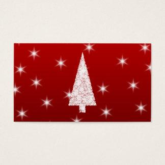 Cartes De Visite Arbre de Noël blanc avec des étoiles sur le rouge