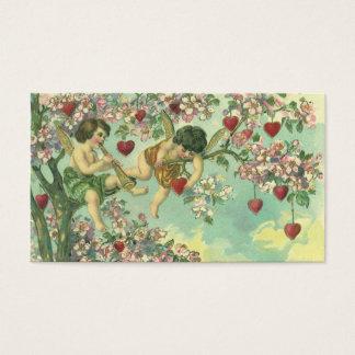 Cartes De Visite Arbre victorien vintage de coeur de cupidons de