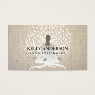 Cartes De Visite Arbre vintage de la vie d'instructeur de yoga et