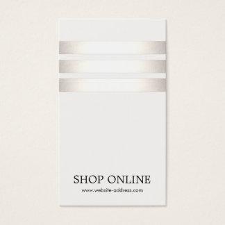 Cartes De Visite Argent et prix à payer promotionnel rayé blanc