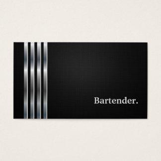 Cartes De Visite Argent noir professionnel de barman