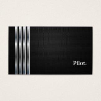 Cartes De Visite Argent noir professionnel pilote