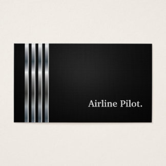Cartes De Visite Argent noir professionnel pilote de ligne aérienne