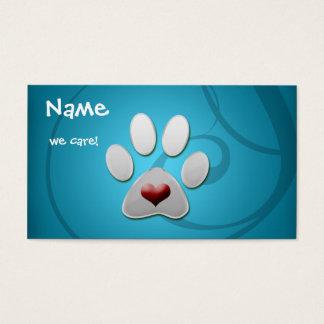 Cartes de visite argentés bleus d'animal familier