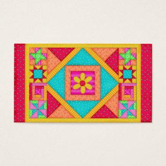 Cartes De Visite Art rouge de bloc de patchwork d'édredon de jaune
