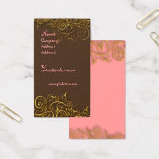 Cartes De Visite Assez dans le rose sur le chocolat avec des remous