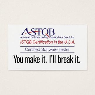 Cartes De Visite ASTQB a certifié l'appareil de contrôle de