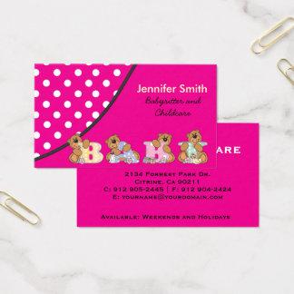 Cartes De Visite Babysitter mignonne ou Childcare