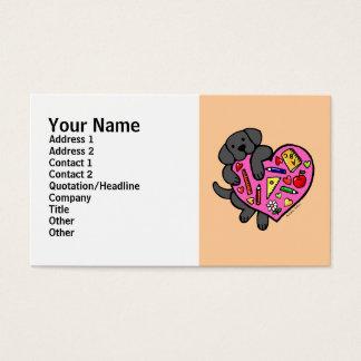 Cartes De Visite Bande dessinée noire de coeur de Labrador et de