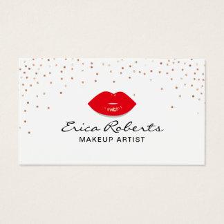 Cartes De Visite Beauté rose de confettis d'or de lèvres rouges de